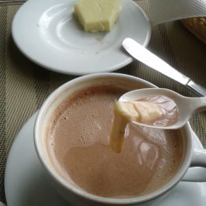 The Colombians drop cheese into hot chocolate  and then eat it melted