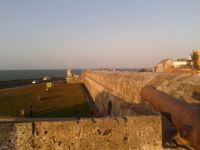The fort wall runs around the historical centre of Cartagena