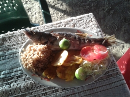 Then he prepares a delicious meal with coconut rice, plantain and fish